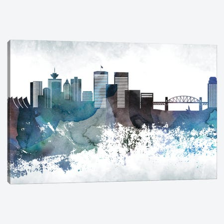 Vancouver Bluish Skyline Canvas Print #WDA724} by WallDecorAddict Art Print