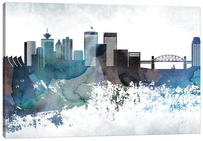 Vancouver Bluish Skyline Canvas Art Print