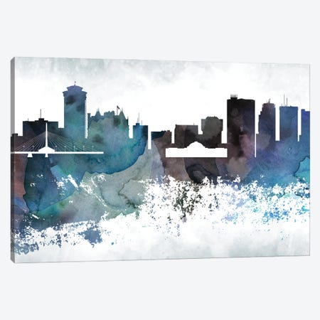Winnipeg Bluish Skyline Canvas Print #WDA729} by WallDecorAddict Canvas Art