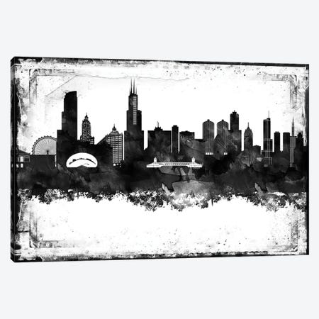 Chicago Black And White Framed Skylines Canvas Print #WDA72} by WallDecorAddict Canvas Artwork