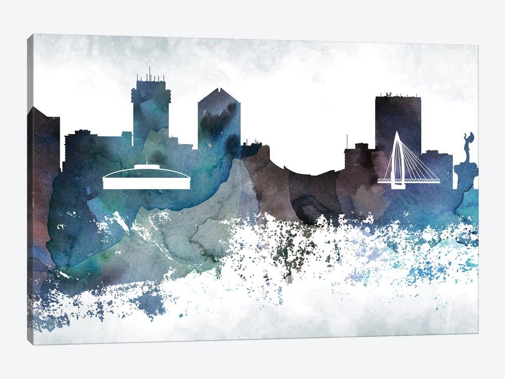 Wichita Bluish Skyline by WallDecorAddict 1-piece Canvas Print