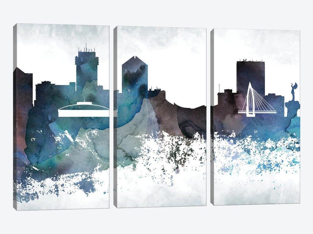 Wichita Bluish Skyline by WallDecorAddict 3-piece Canvas Print