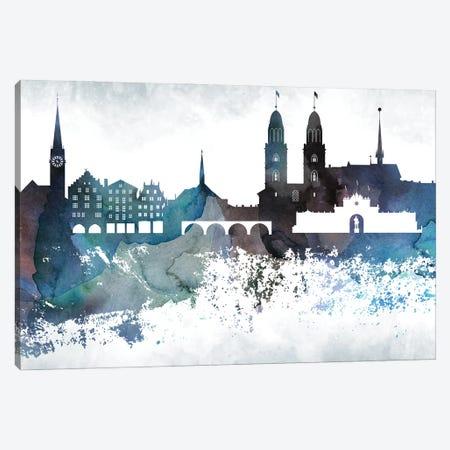Zurich Bluish Skyline Canvas Print #WDA731} by WallDecorAddict Canvas Art Print