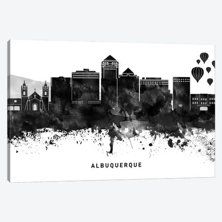 Albuquerque Skyline Black & White Canvas Print #WDA732} by WallDecorAddict Canvas Print