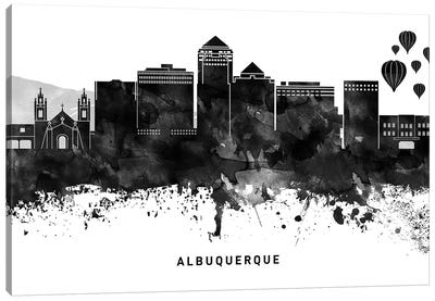 Albuquerque Skyline Black & White Canvas Art Print