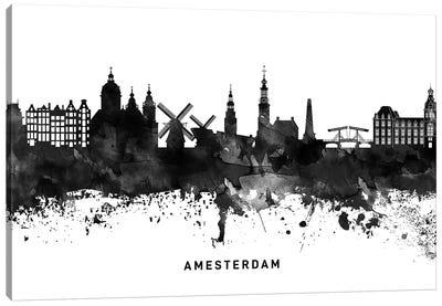 Amsterdam Skyline Black & White Canvas Art Print