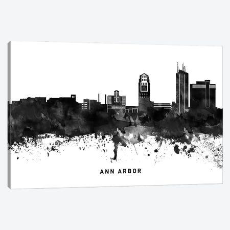 Ann Arbor Skyline Black & White Canvas Print #WDA734} by WallDecorAddict Canvas Art