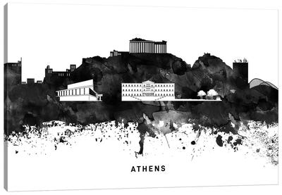 Athens Skyline Black & White Canvas Art Print