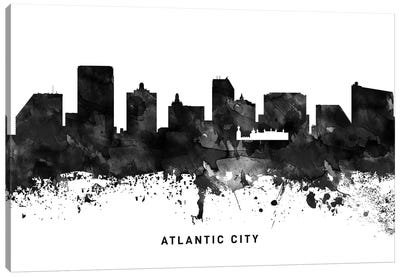 Atlantic City Skyline Black & White Canvas Art Print