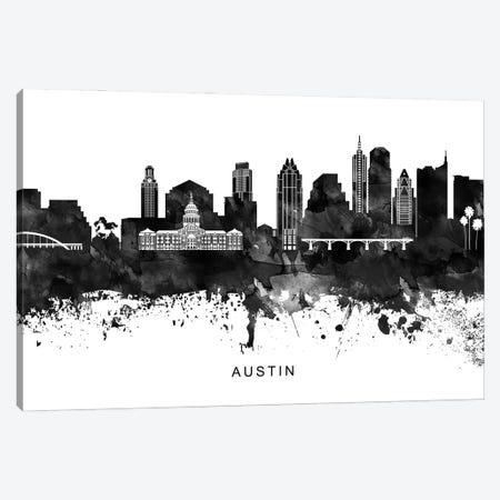 Austin Skyline Black & White Canvas Print #WDA739} by WallDecorAddict Art Print