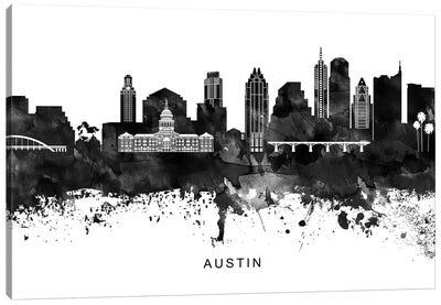 Austin Skyline Black & White Canvas Art Print