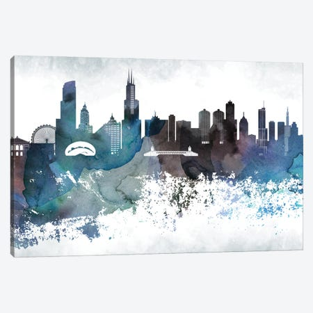 Chicago Bluish Skylines Canvas Print #WDA73} by WallDecorAddict Canvas Wall Art