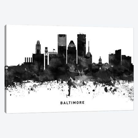 Baltimore Skyline Black & White Canvas Print #WDA740} by WallDecorAddict Canvas Art