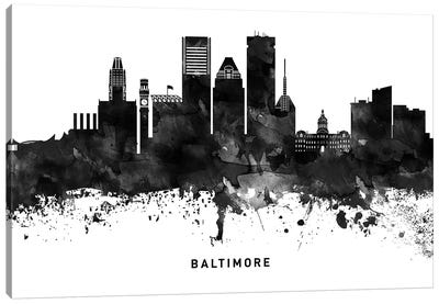 Baltimore Skyline Black & White Canvas Art Print