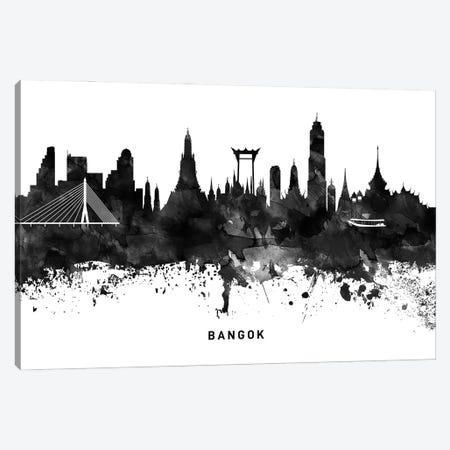 Bangkok Skyline Black & White Canvas Print #WDA741} by WallDecorAddict Canvas Wall Art
