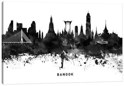 Bangkok Skyline Black & White Canvas Art Print