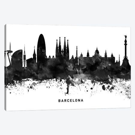 Barcelona Skyline Black & White Canvas Print #WDA742} by WallDecorAddict Canvas Wall Art