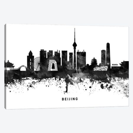 Beijing Skyline Black & White Canvas Print #WDA743} by WallDecorAddict Canvas Wall Art