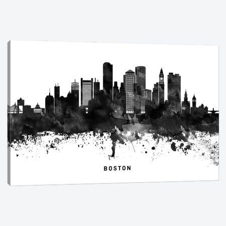 Boston Skyline Black & White Canvas Print #WDA747} by WallDecorAddict Canvas Art Print