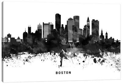 Boston Skyline Black & White Canvas Art Print