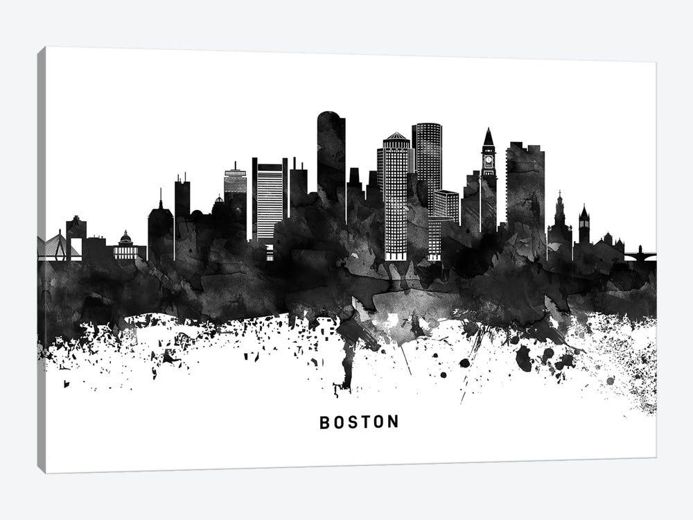 Boston Skyline Black & White by WallDecorAddict 1-piece Canvas Art Print