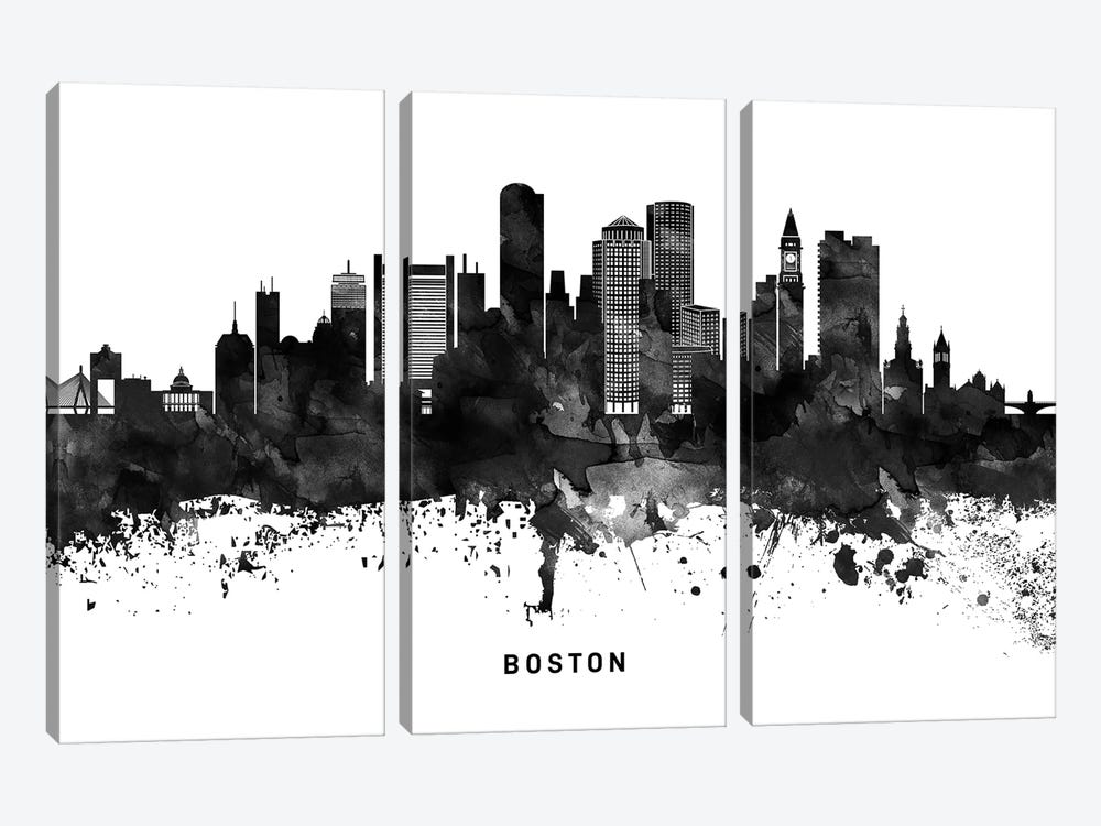 Boston Skyline Black & White by WallDecorAddict 3-piece Canvas Art Print