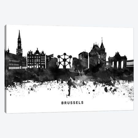 Brussels Skyline Black & White Canvas Print #WDA748} by WallDecorAddict Canvas Wall Art
