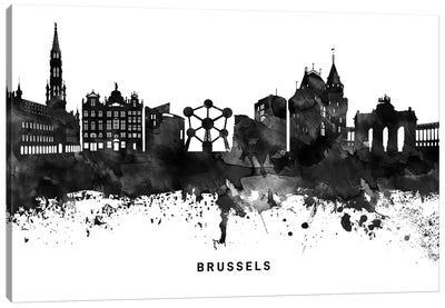 Brussels Skyline Black & White Canvas Art Print