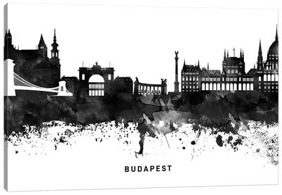 Budapest Skyline Black & White Canvas Art Print