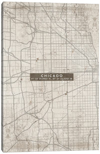 Chicago City Map Abstract Canvas Art Print