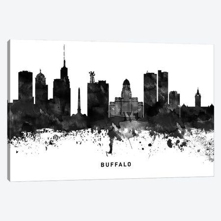 Buffalo Skyline Black & White Canvas Print #WDA751} by WallDecorAddict Art Print