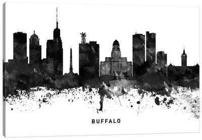 Buffalo Skyline Black & White Canvas Art Print