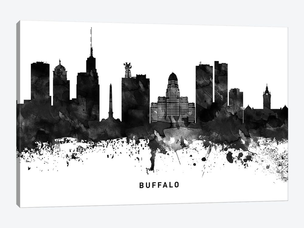 Buffalo Skyline Black & White by WallDecorAddict 1-piece Canvas Artwork