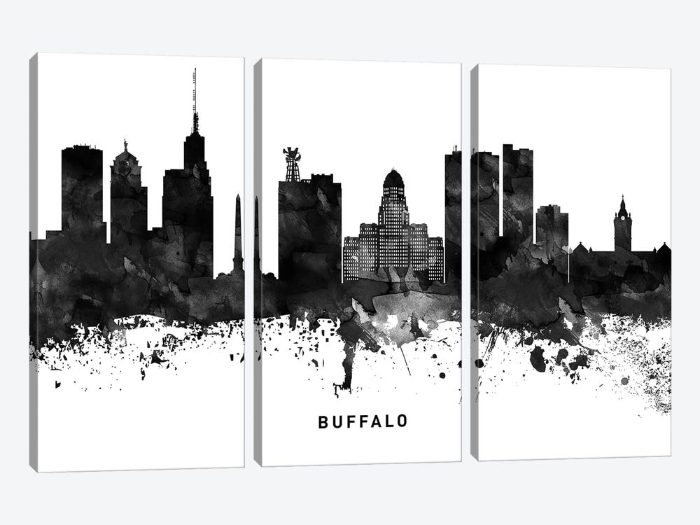 Buffalo Skyline Black & White by WallDecorAddict 3-piece Canvas Wall Art