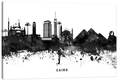 Cairo Skyline Black & White Canvas Art Print