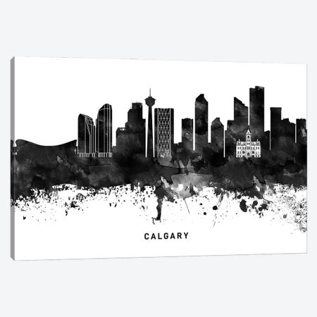 Calgary Skyline Black & White Canvas Print #WDA753} by WallDecorAddict Canvas Print