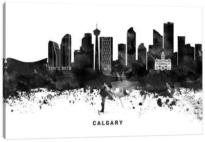 Calgary Skyline Black & White Canvas Art Print