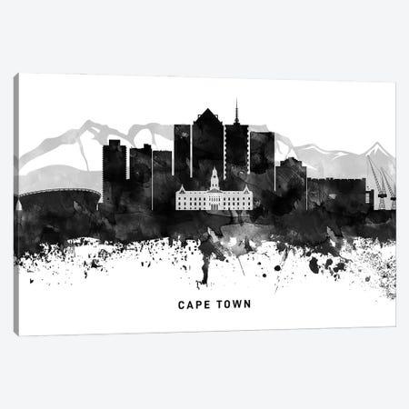 Cape Town Skyline Black & White Canvas Print #WDA754} by WallDecorAddict Canvas Artwork
