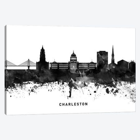 Charleston Skyline Black & White Canvas Print #WDA755} by WallDecorAddict Canvas Art