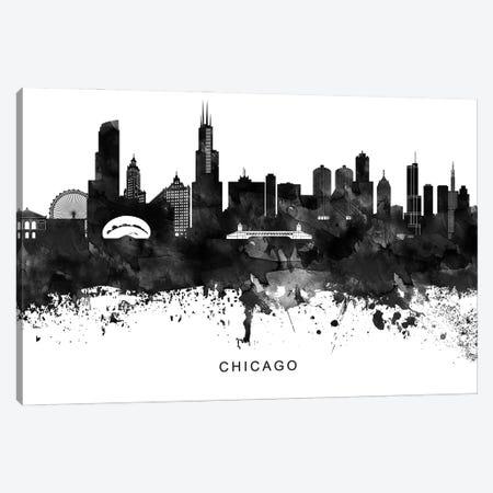 Chicago Skyline Black & White Canvas Print #WDA756} by WallDecorAddict Canvas Artwork