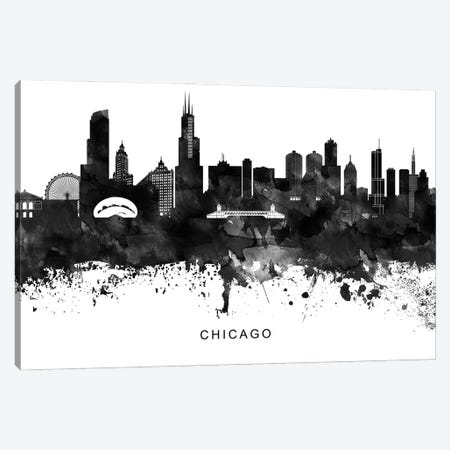 Chicago Skyline Black & White Canvas Print #WDA756} by WallDecorAddict Canvas Artwork