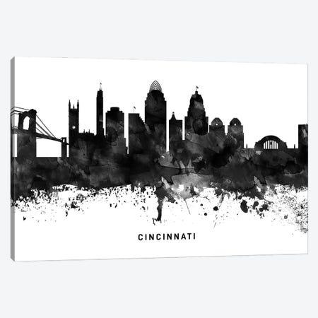 Cincinnati Skyline Black & White Canvas Print #WDA757} by WallDecorAddict Canvas Art