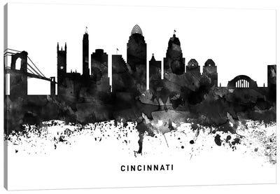 Cincinnati Skyline Black & White Canvas Art Print