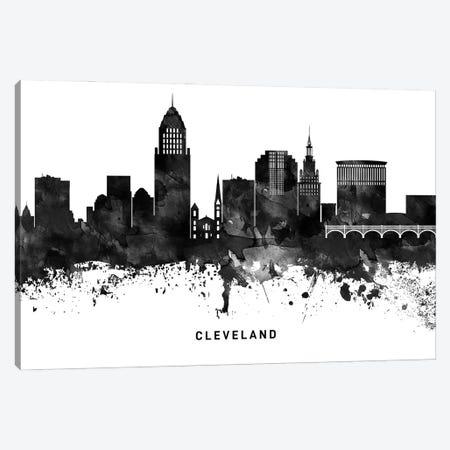 Cleveland Skyline Black & White Canvas Print #WDA758} by WallDecorAddict Art Print