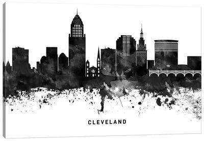 Cleveland Skyline Black & White Canvas Art Print