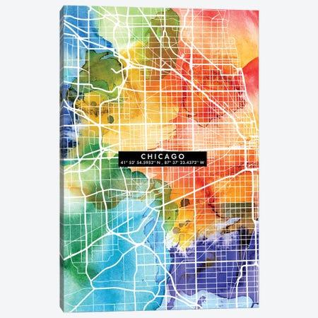Chicago City Map Colorful Canvas Print #WDA75} by WallDecorAddict Art Print