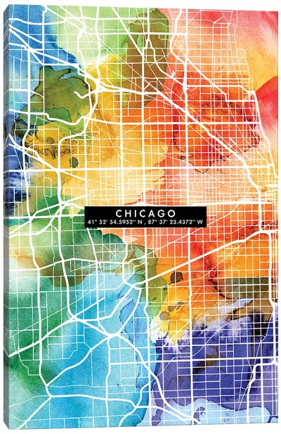 Chicago City Map Colorful Canvas Art Print