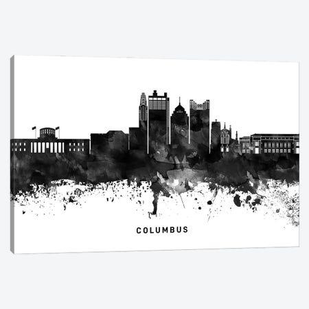 Columbus Skyline Black & White Canvas Print #WDA760} by WallDecorAddict Canvas Artwork