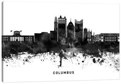 Columbus Skyline Black & White Canvas Art Print