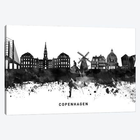 Copenhagen Skyline Black & White Canvas Print #WDA761} by WallDecorAddict Canvas Wall Art